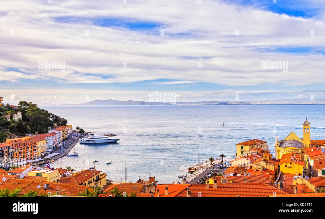 Porto Santo Stefano village, church and seafront panorama, italian travel destination. Monte Argentario, Tuscany, - Stock Image