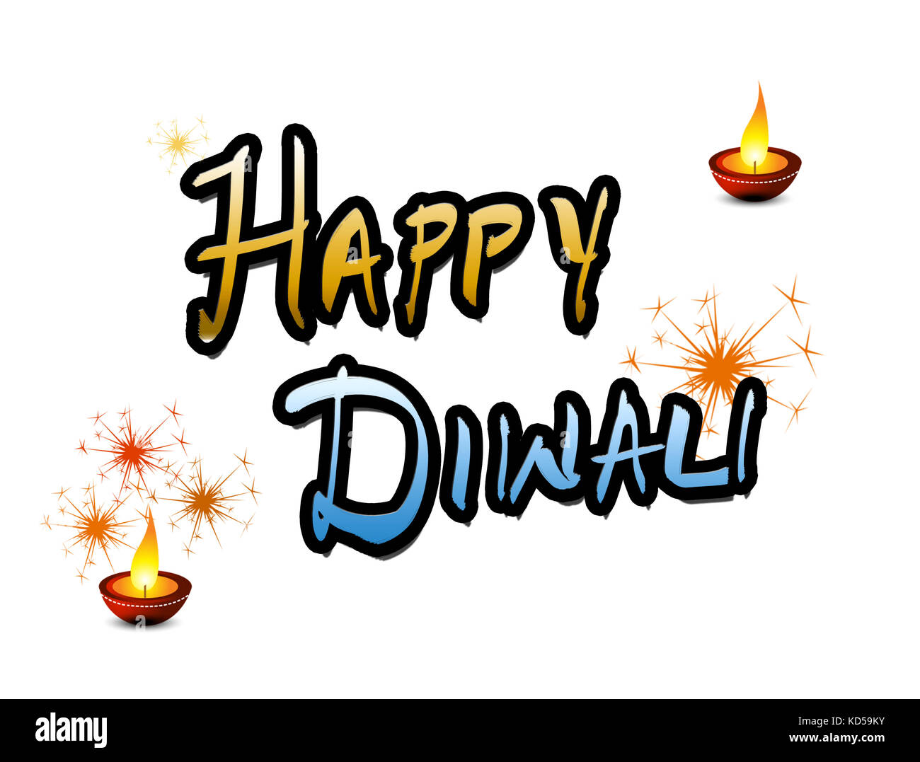 Happy Diwali Wishes and Greetings - Stock Image