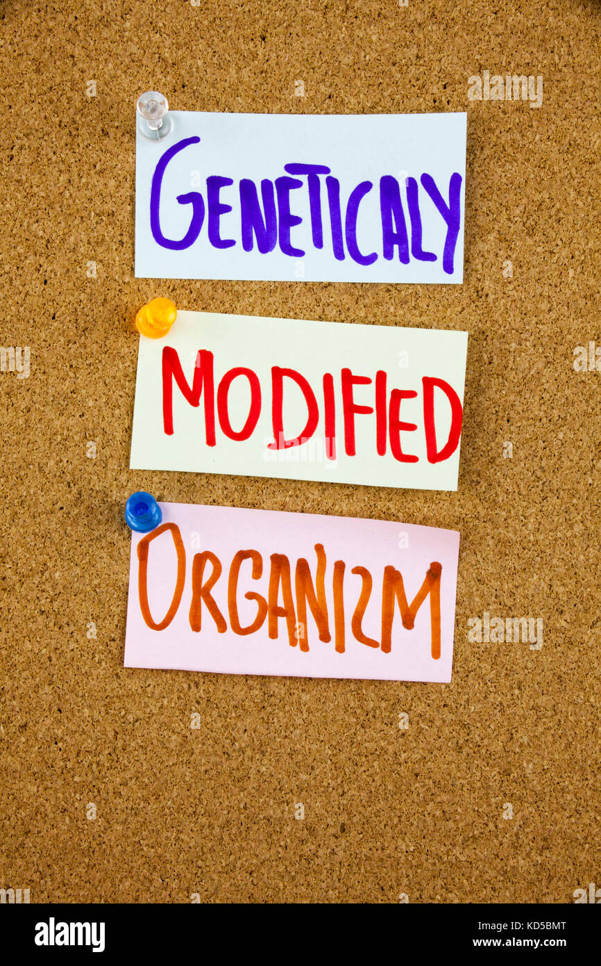 A yellow sticky note writing, caption, inscription GMO Genetically Modified Organism acronym on colorful sticky - Stock Image