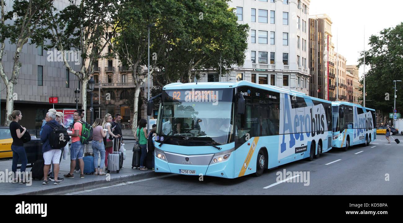Airport bus Barcelona Catalunya Spain - Stock Image