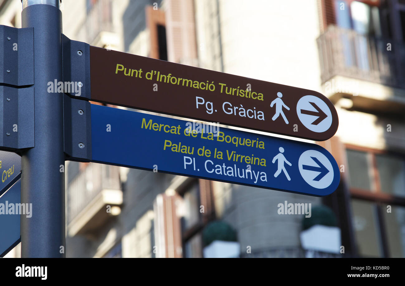 Street sign in Barcelona Catalunya Spain - Stock Image