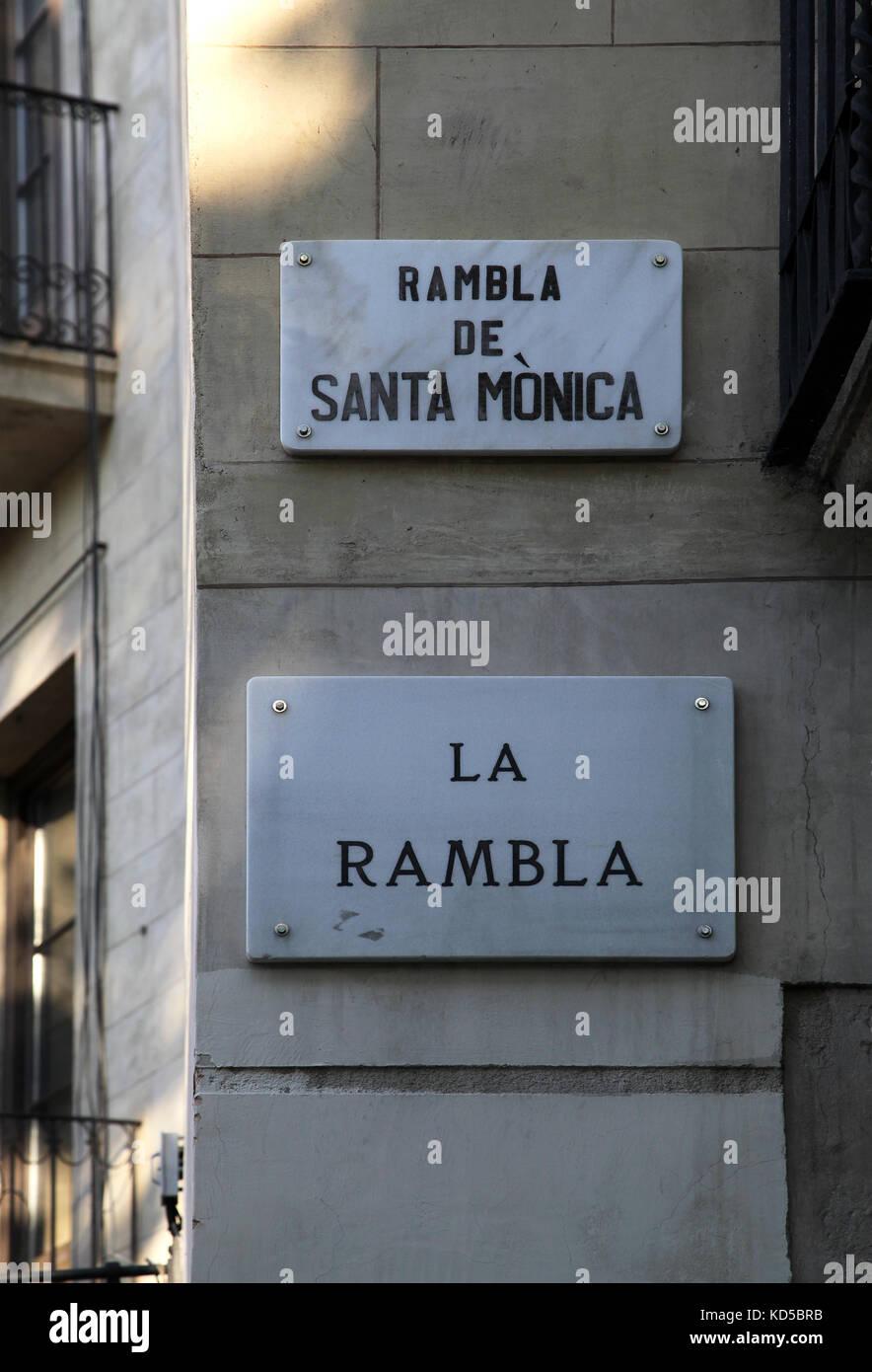 Rambla de Santa Monica Street sign in Barcelona Catalunya Spain - Stock Image