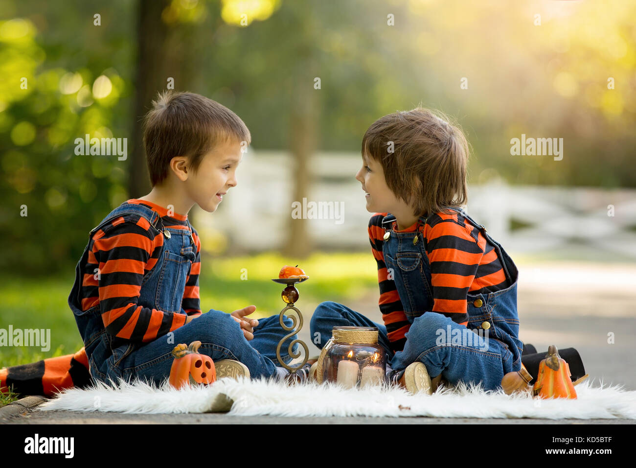 Two children boy brothers in the park with Halloween costumes having fun - Stock  sc 1 st  Alamy & Two Children Halloween Costumes Stock Photos u0026 Two Children ...