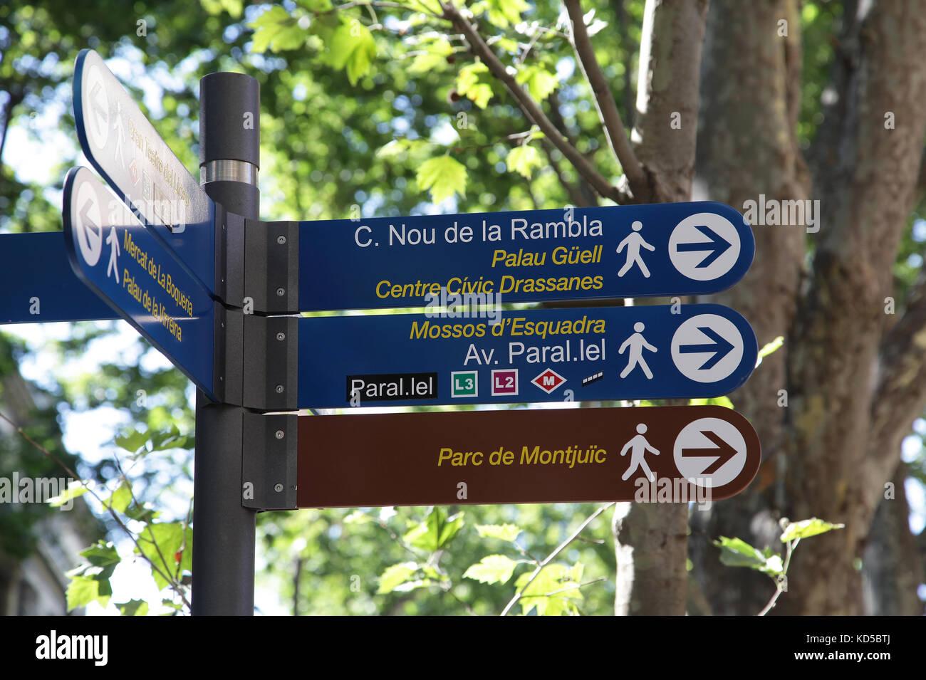 Street sign on the rambla in Barcelona Catalunya Spain - Stock Image