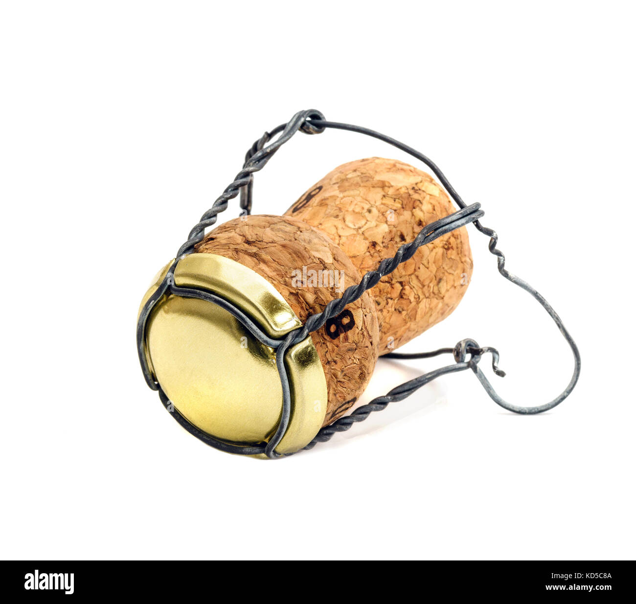 Champagne cork on white background - Stock Image