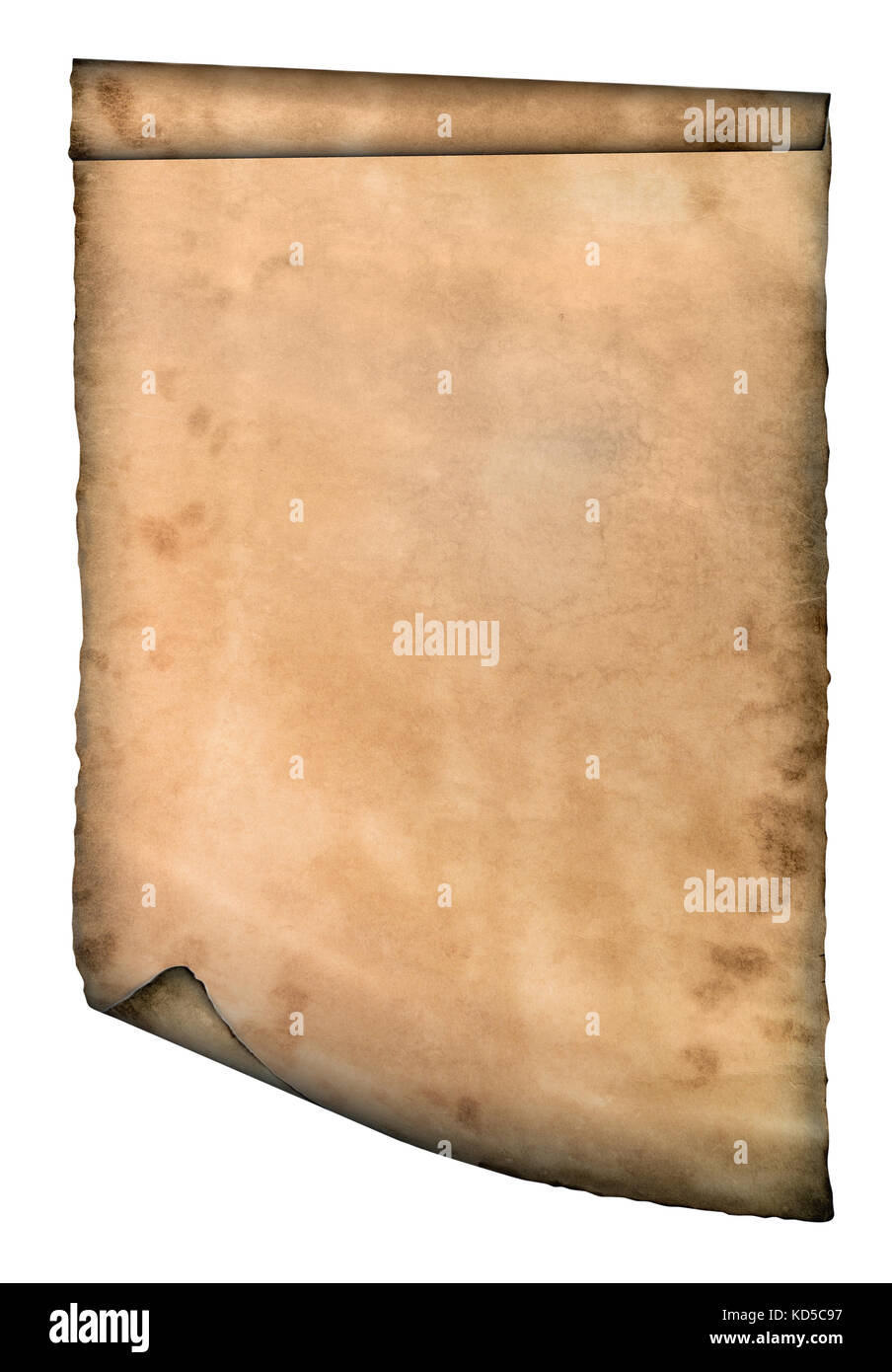Old page curved paper curves paper parchment background - Stock Image