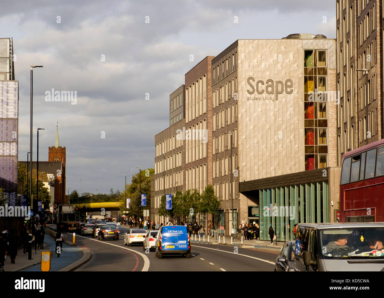 Scape Student Living student accomodation on the Mile End Road, London opposite Queen Mary College - Stock Image