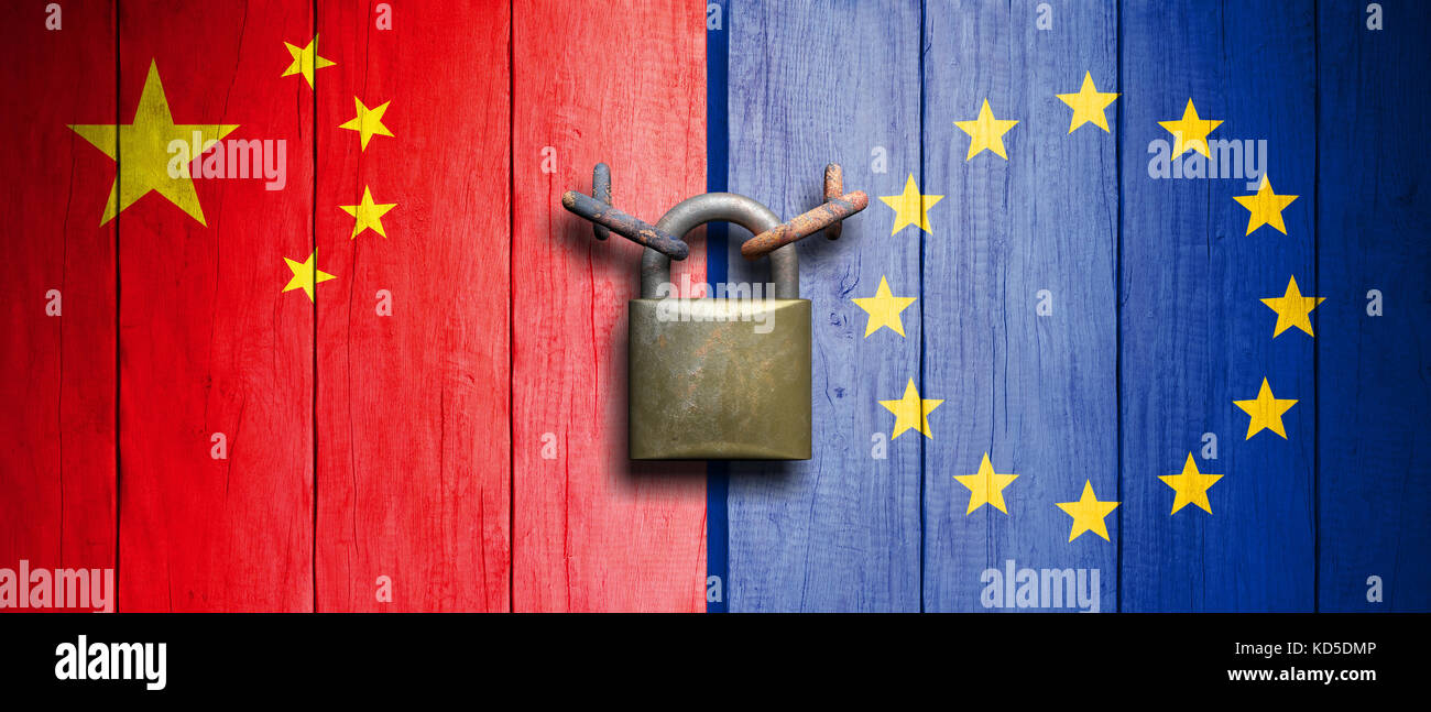 China and European Union relations. China and European Union flags on wooden door with padlock. 3d illustration - Stock Image