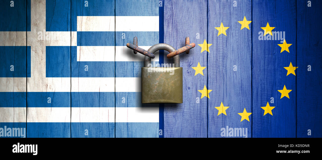 Greece and European Union relations. Greece and European Union flags on wooden door with padlock. 3d illustration - Stock Image