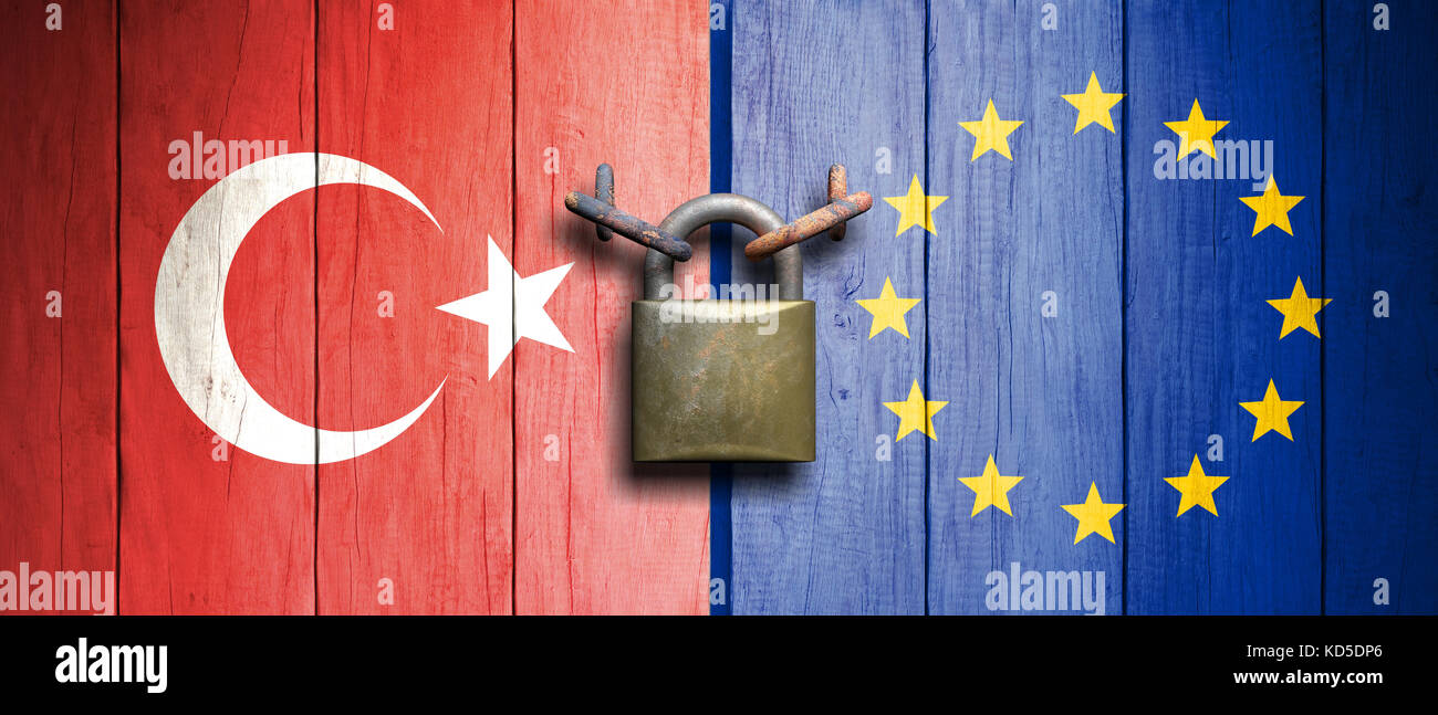 Turkey and EU relations.Turkey and European Union flags on wooden door with padlock. 3d illustration - Stock Image