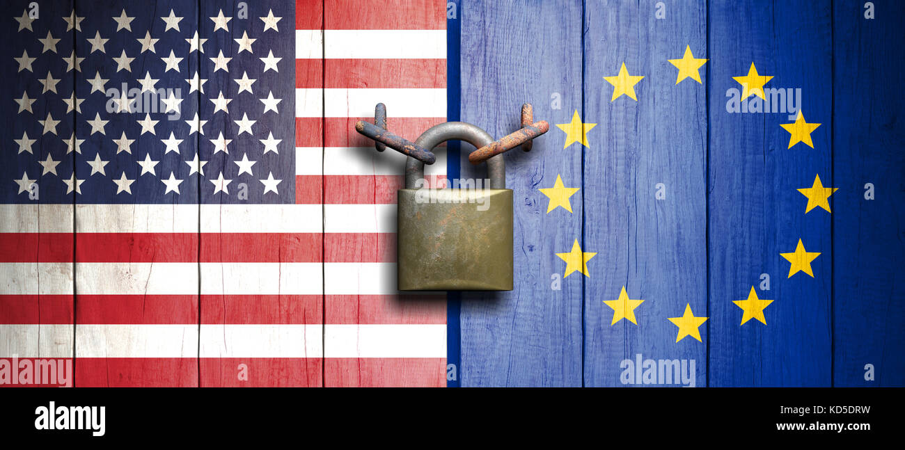 USA and European Union relations. United States of America and European Union flags on wooden door with padlock. - Stock Image