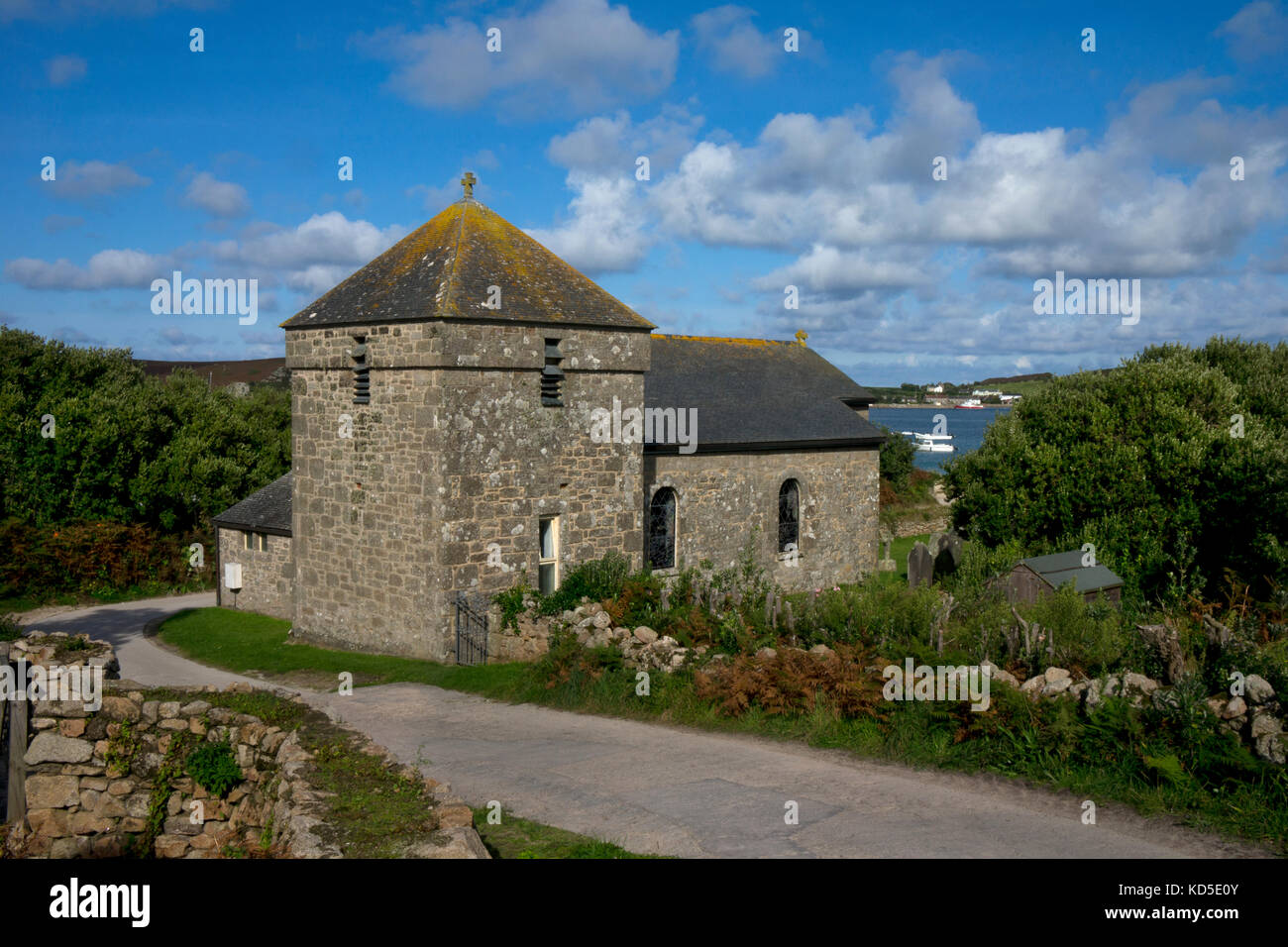 Church on Bryher with view over bay to Tresco,Scilly Isles,British Isles - Stock Image
