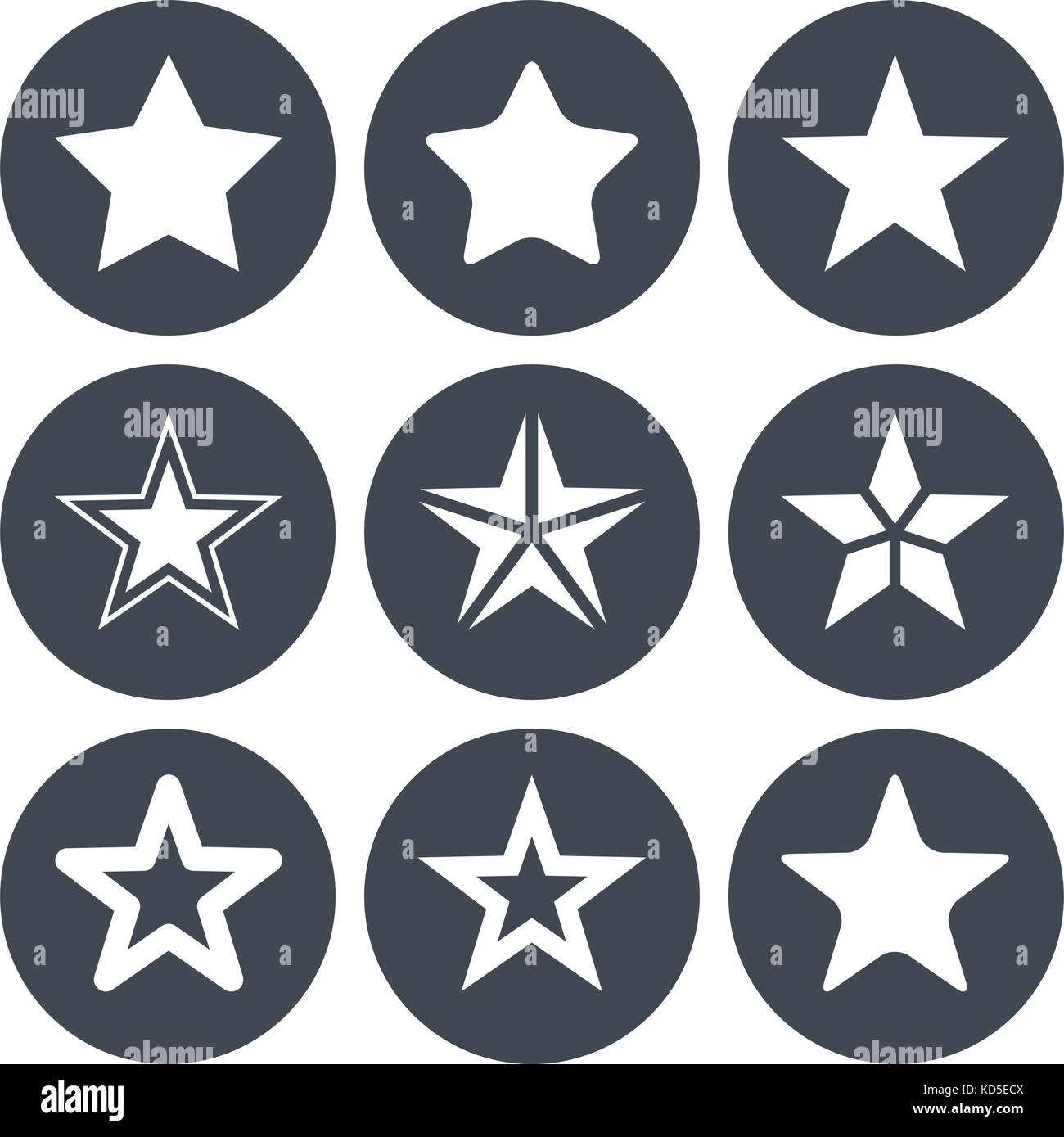 Simple star ions for rating bar - Stock Image