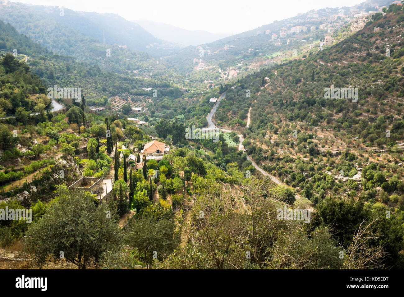 View to the valley and Deir al Kamar from Beit ed-Din, Lebanon - Stock Image
