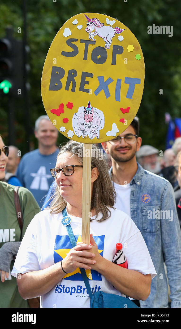 Thousands of anti-Brexit campaigners take part in the People's March for Europe pro-EU rally in central London. - Stock Image