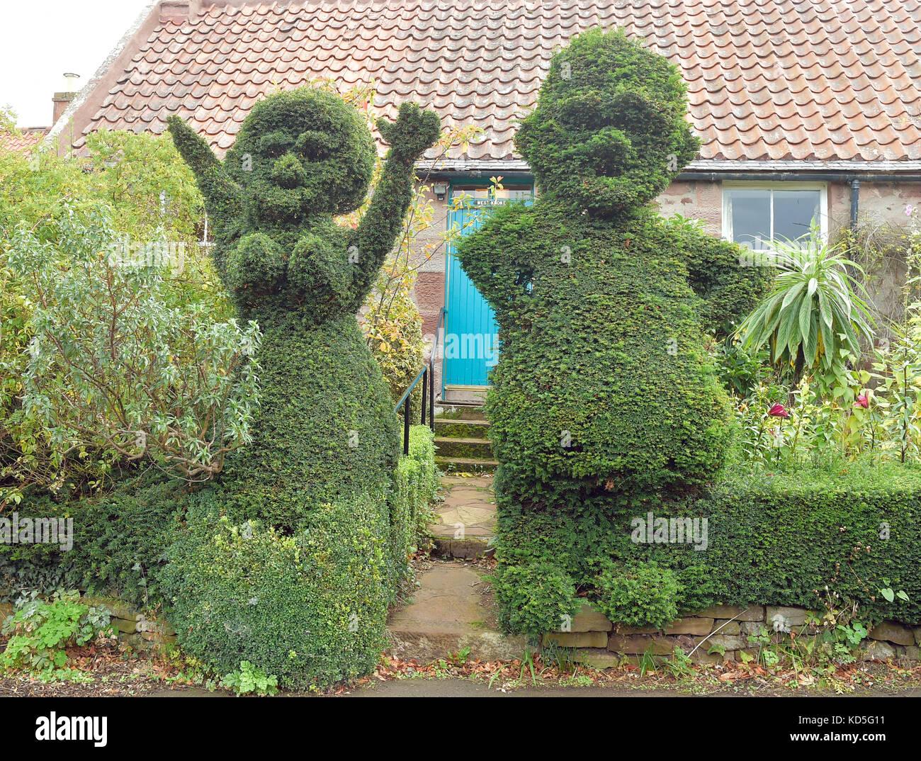 Stenton village, East Lothian garden hedge - Stock Image