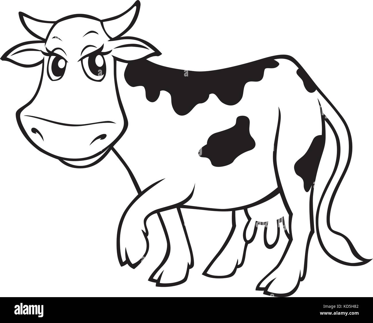 Vector cartoon black and white drawing of a cute cow