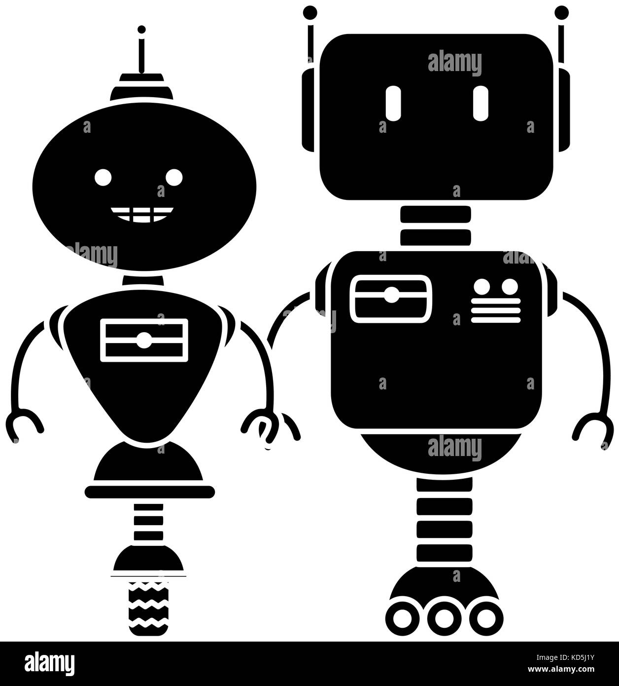 electronic robots characters icon Stock Vector