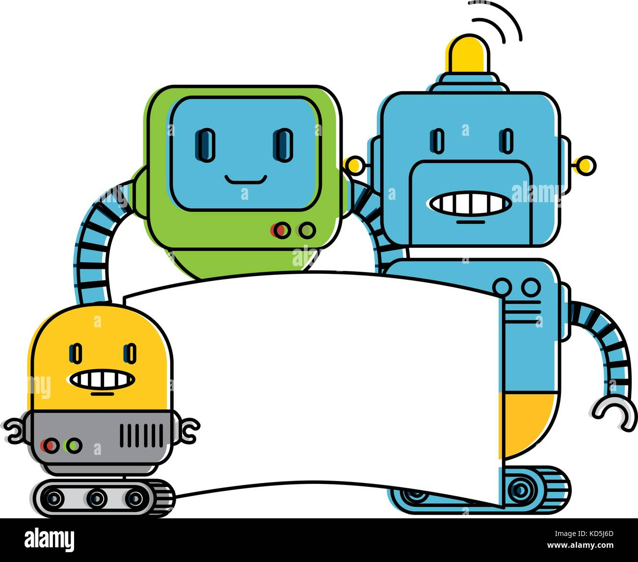 electronic robots with banner characters Stock Vector