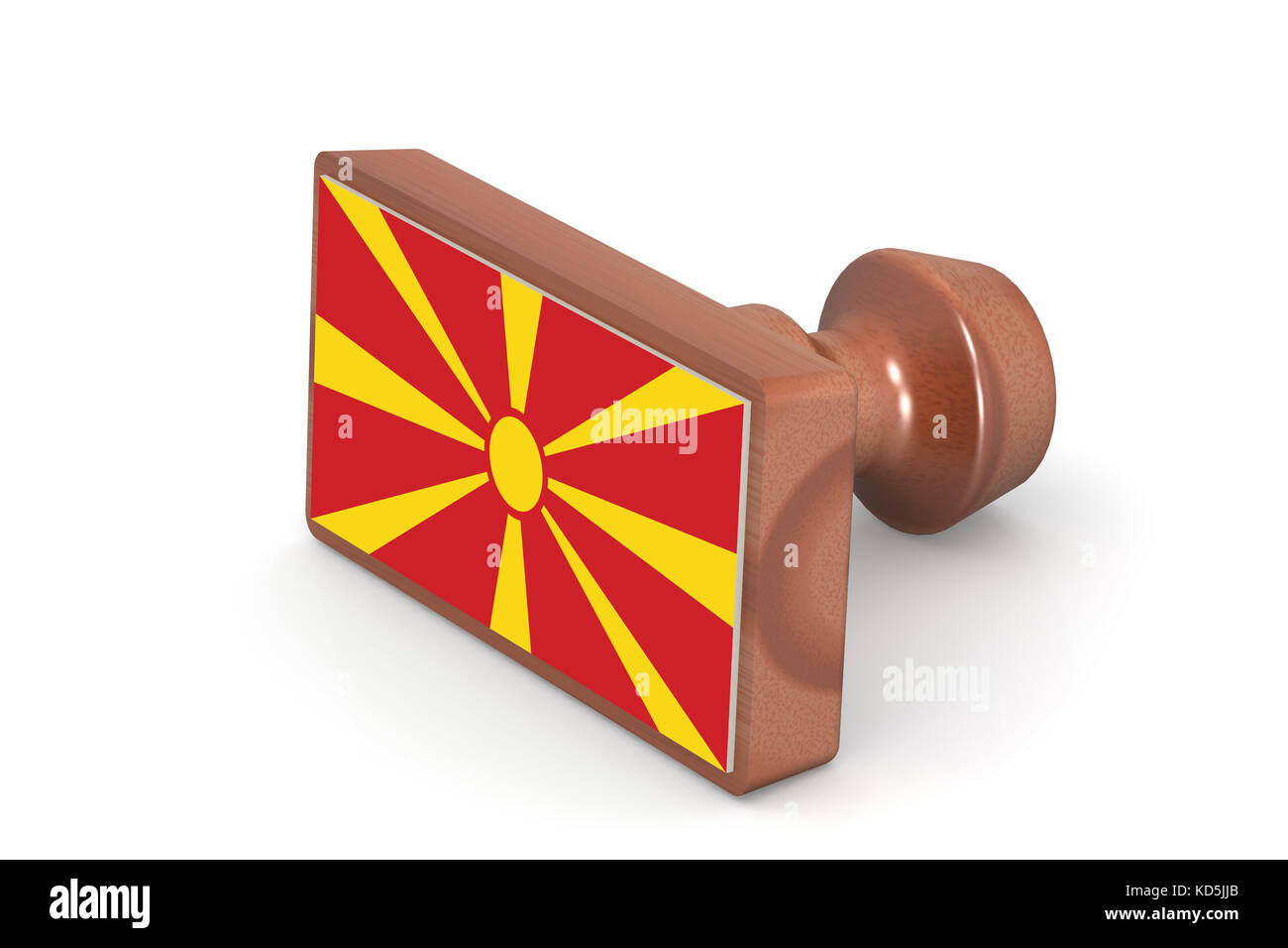 Wooden stamp with Macedonia flag image with hi-res rendered artwork that could be used for any graphic design. - Stock Image