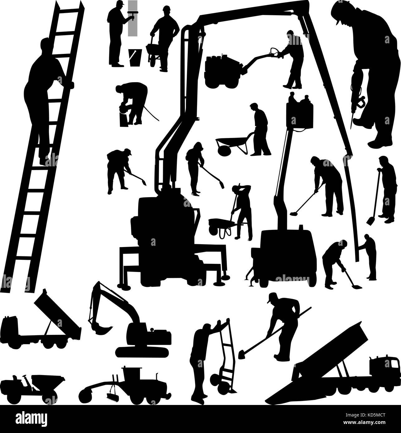 Worker indoor and outdoor with tool silhouette vector - Stock Vector