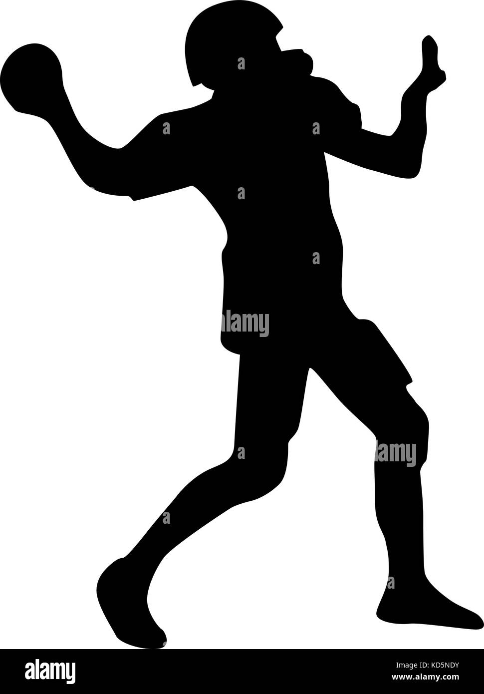 american football player silhouette vector - Stock Image