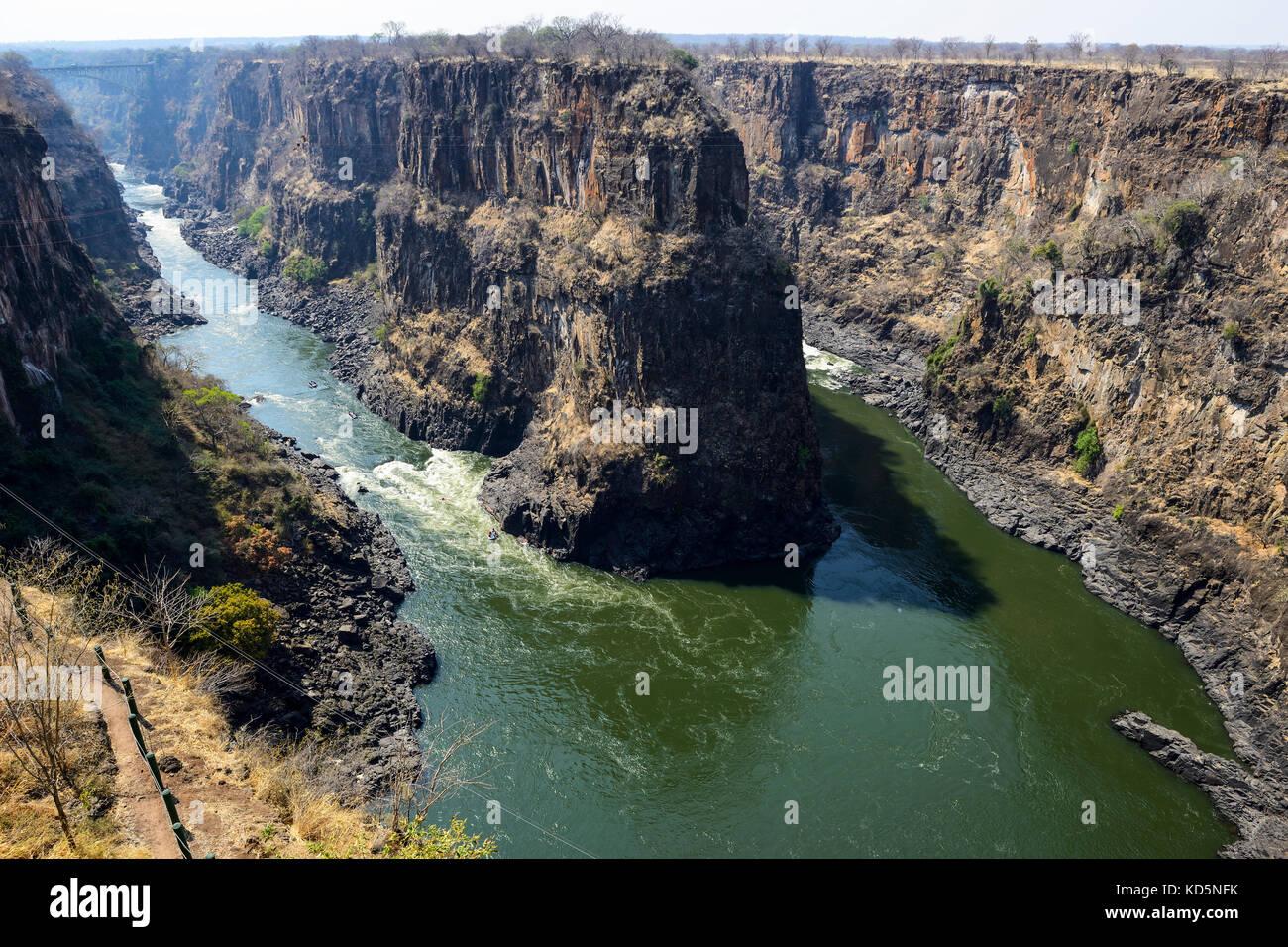 Rafting on Zambezi River, Zimbabwe, Southern Africa - Stock Image