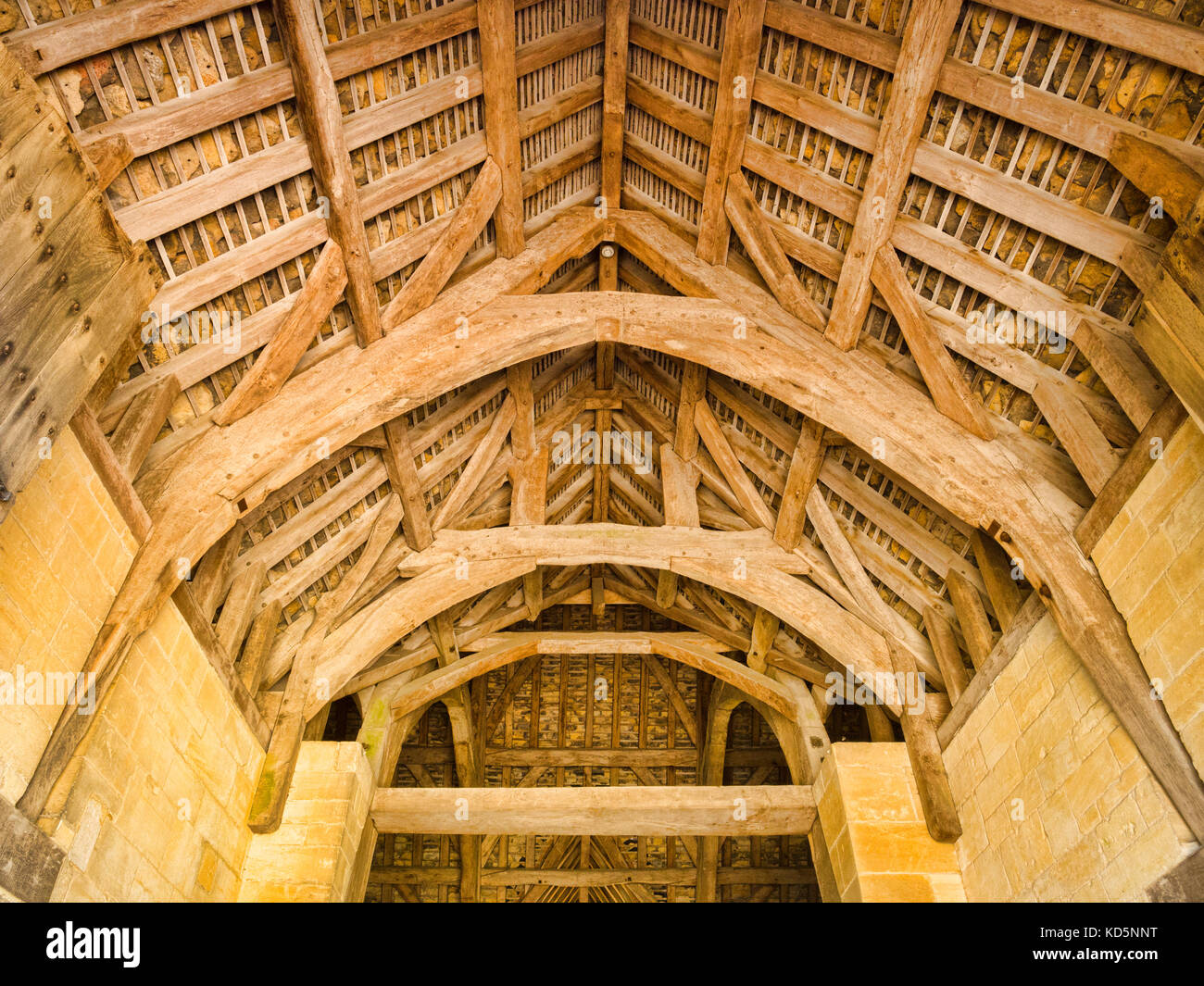 7 July 2017: Bradford on Avon, Somerset, England, UK - The Tithe Barn, built in the early 14th century as part of - Stock Image