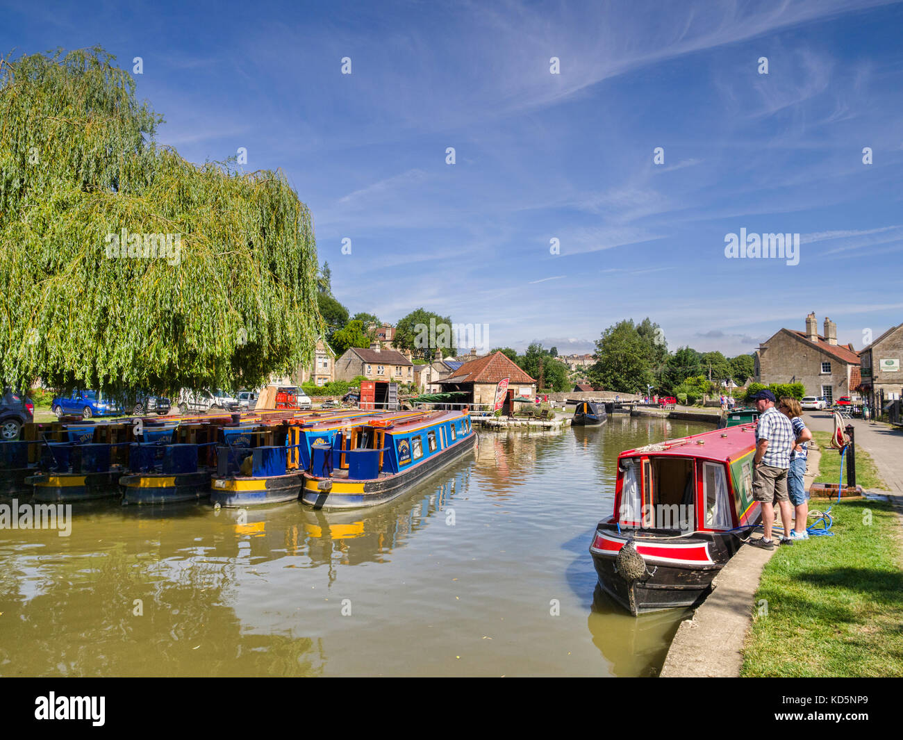 7 July 2017: Bradford on Avon, Somerset, England, UK - Bradford on Avon Wharf, a typical canal basin with colourful - Stock Image