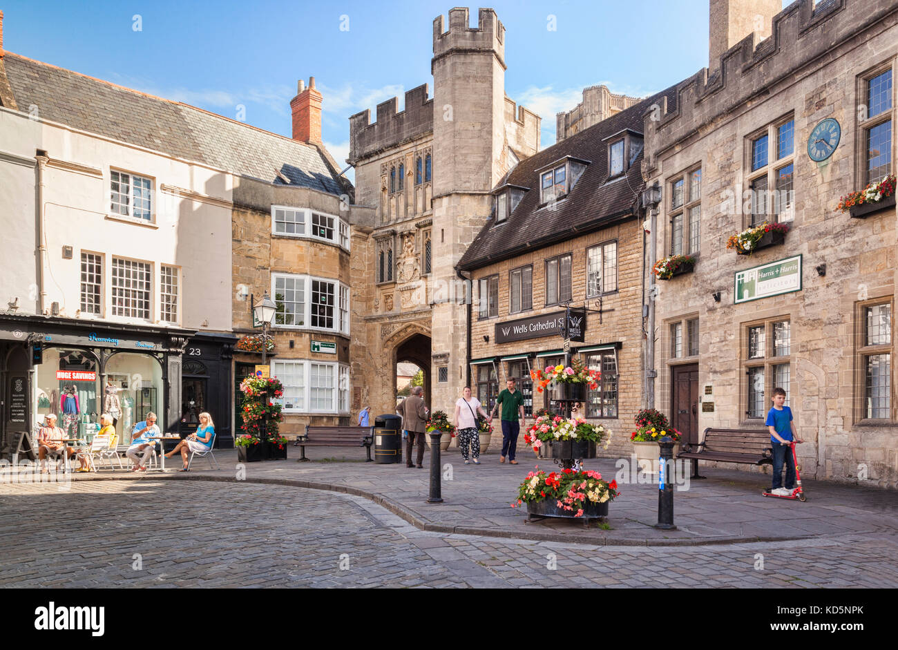 9 July 2017: Wells, Somerset, England, UK - The Market Square on a sunny morning in summer. - Stock Image
