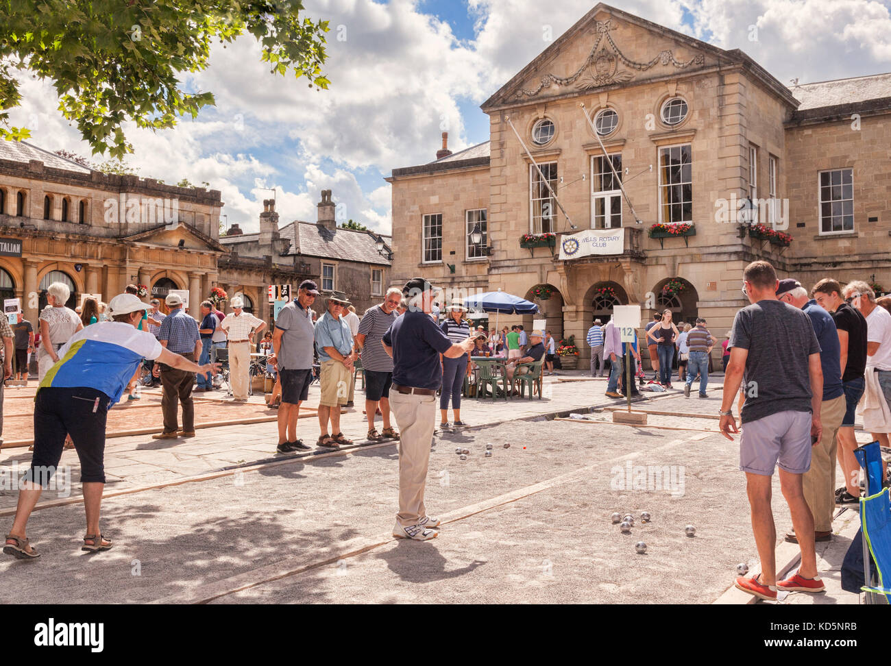 9 July 2017: Wells, Somerset, England, UK - Annual Charity Boules Tournament, organised by the Rotary Club. - Stock Image
