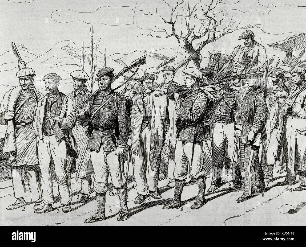 Third Carlist War (1872-1876). Presentation of Carlists to pardon at the  headquarters in Alsasua (Navarra). Engraving by Jose Luis Pellicer Montseny.