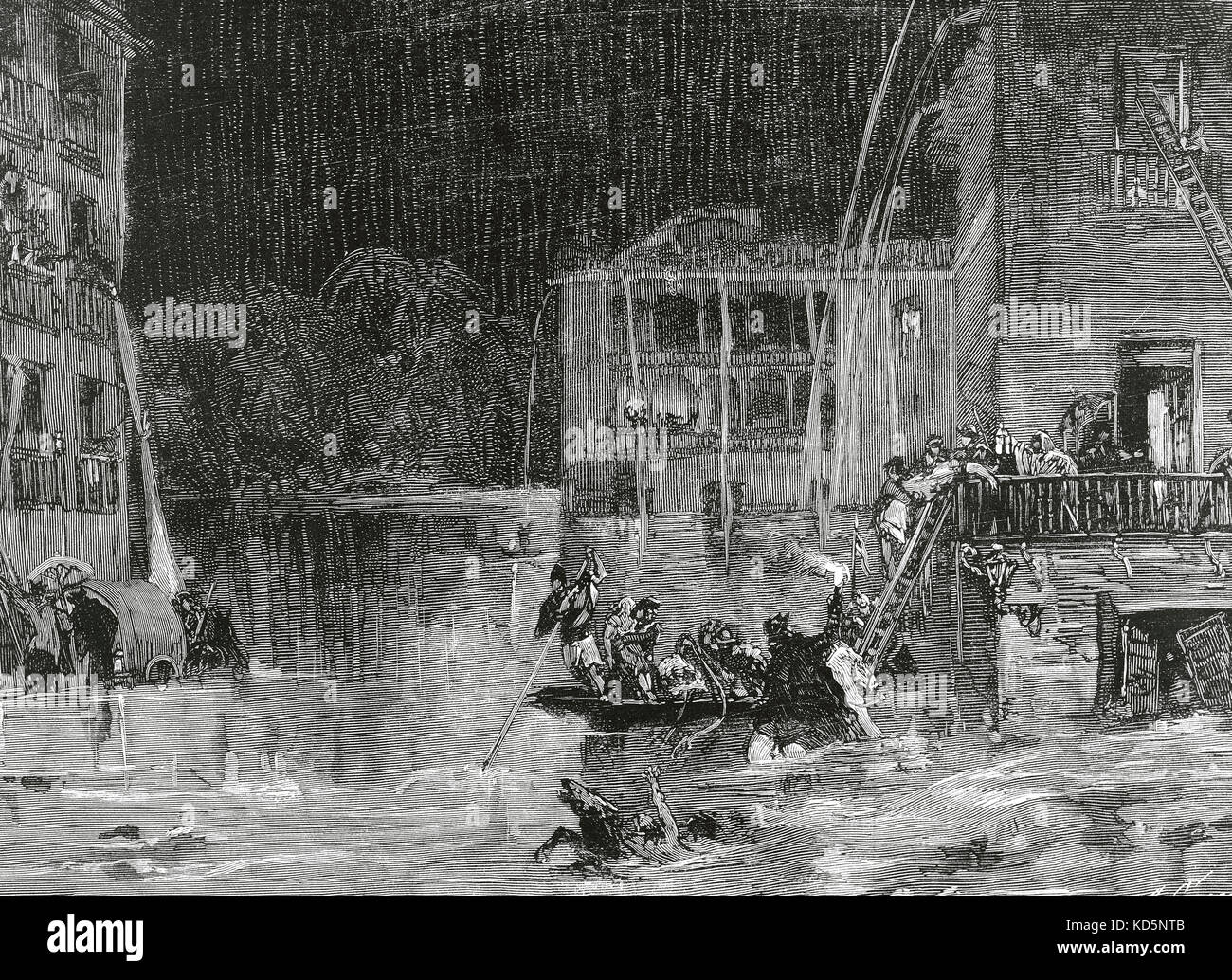 Spain. Murcia. The flood of Santa Teresa (15 October 1879). Flood in the Marques de Camacho square.  Engraving by - Stock Image