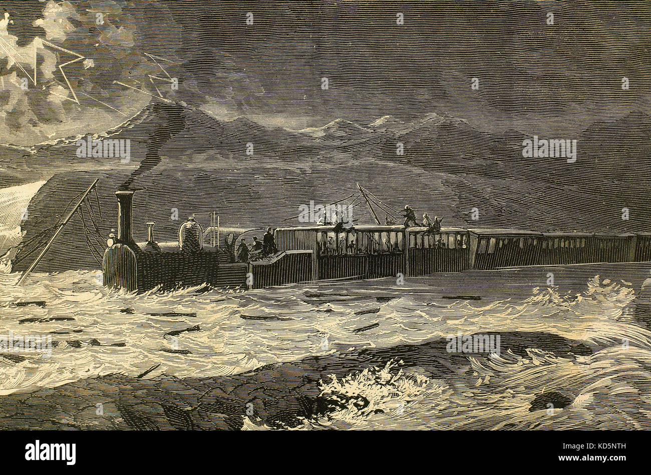 Spain. Aragon. Mail train from Barcelona stopped between Selgua and Tomillo (Huesca Province) by the flood of the - Stock Image