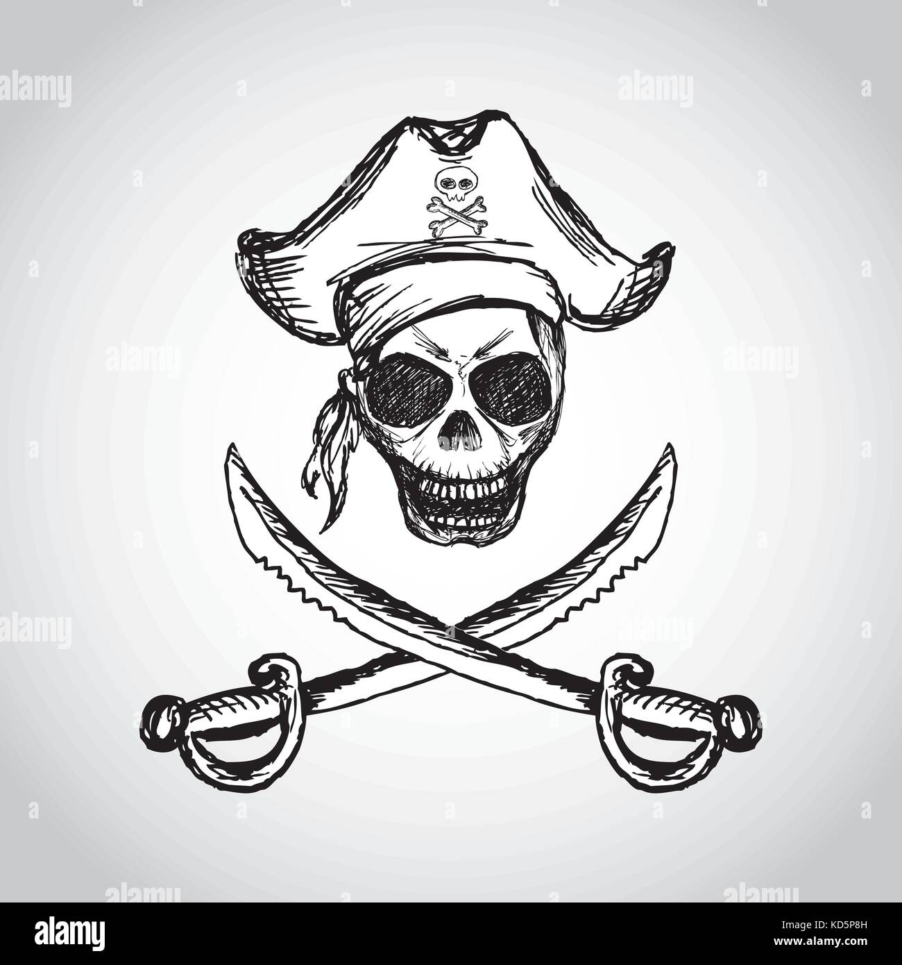 pirate skull with hat and crossed swords, hand drawing ...