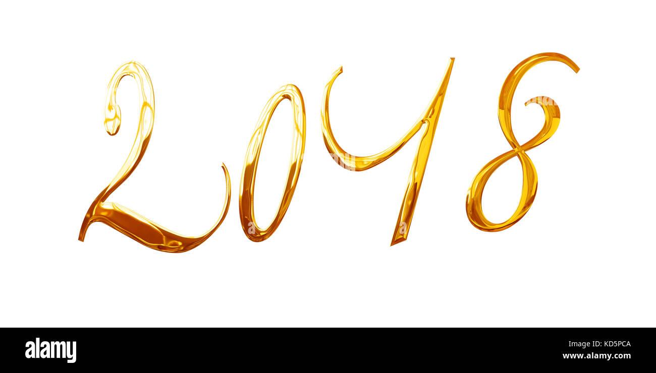 2018, elegant shiny 3D golden metal letters isolated on white background - Stock Image