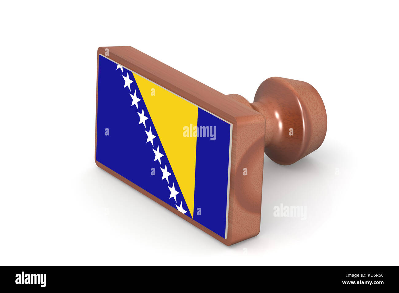 Wooden stamp with Bosnia and Herzegovina flag image with hi-res rendered artwork that could be used for any graphic - Stock Image