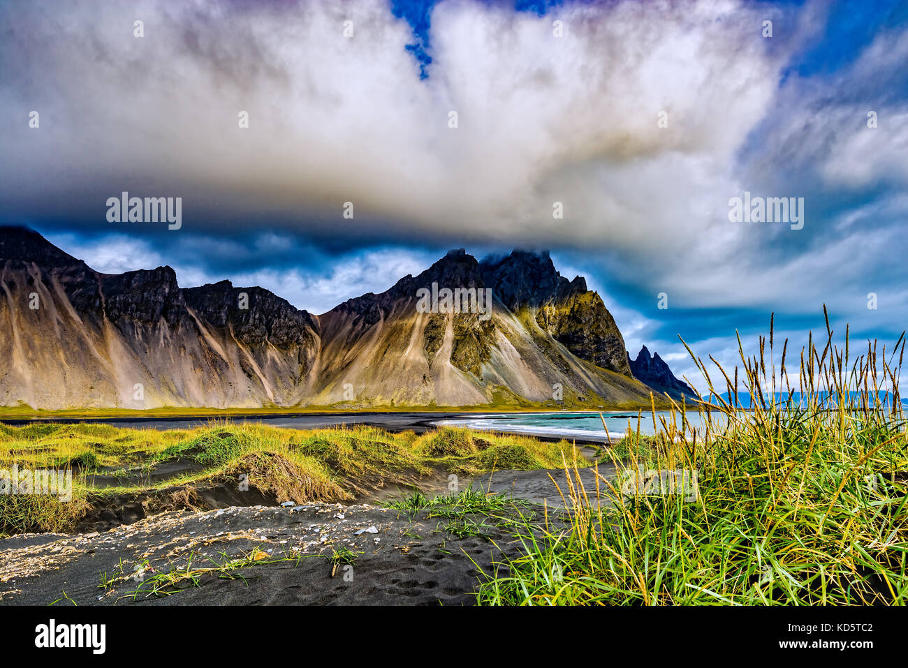 The mountains before the Eastern Fjords of Iceland from Stokksnes - Stock Image