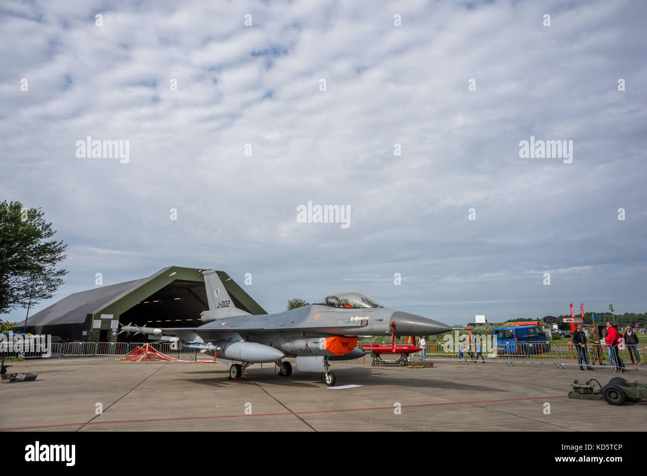 A General Dynamics F-16 Fighting Falcon is being exhibited at the air show of the Royal Netherlands Air Force at - Stock Image