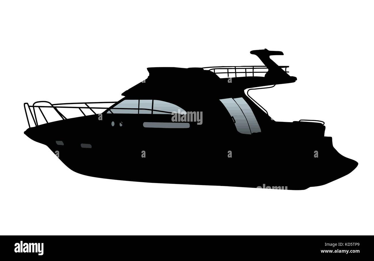 Cruising motor yacht silhouette on white background, vector illustration - Stock Image