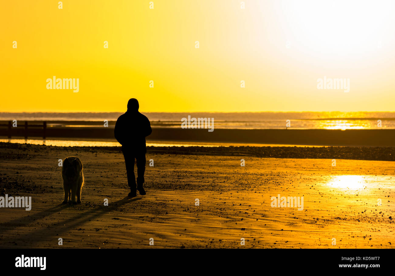Silhouette of a man and dog on a beach as the sun rises in the UK. - Stock Image