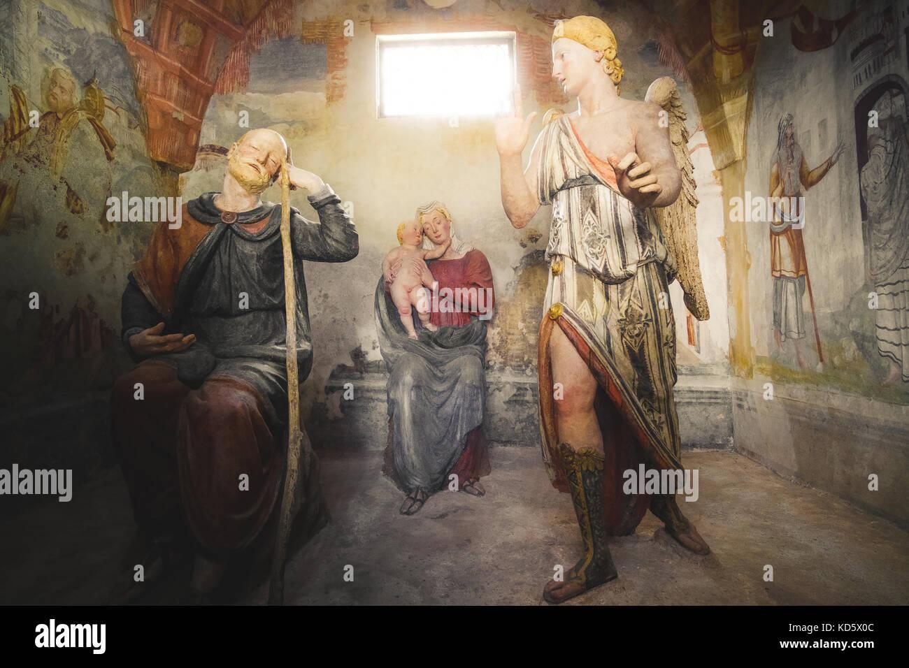 biblical scene representation (presepe)  the second dream of Saint Joseph (Sacro Monte di Varallo, Piedmont, Italy, - Stock Image