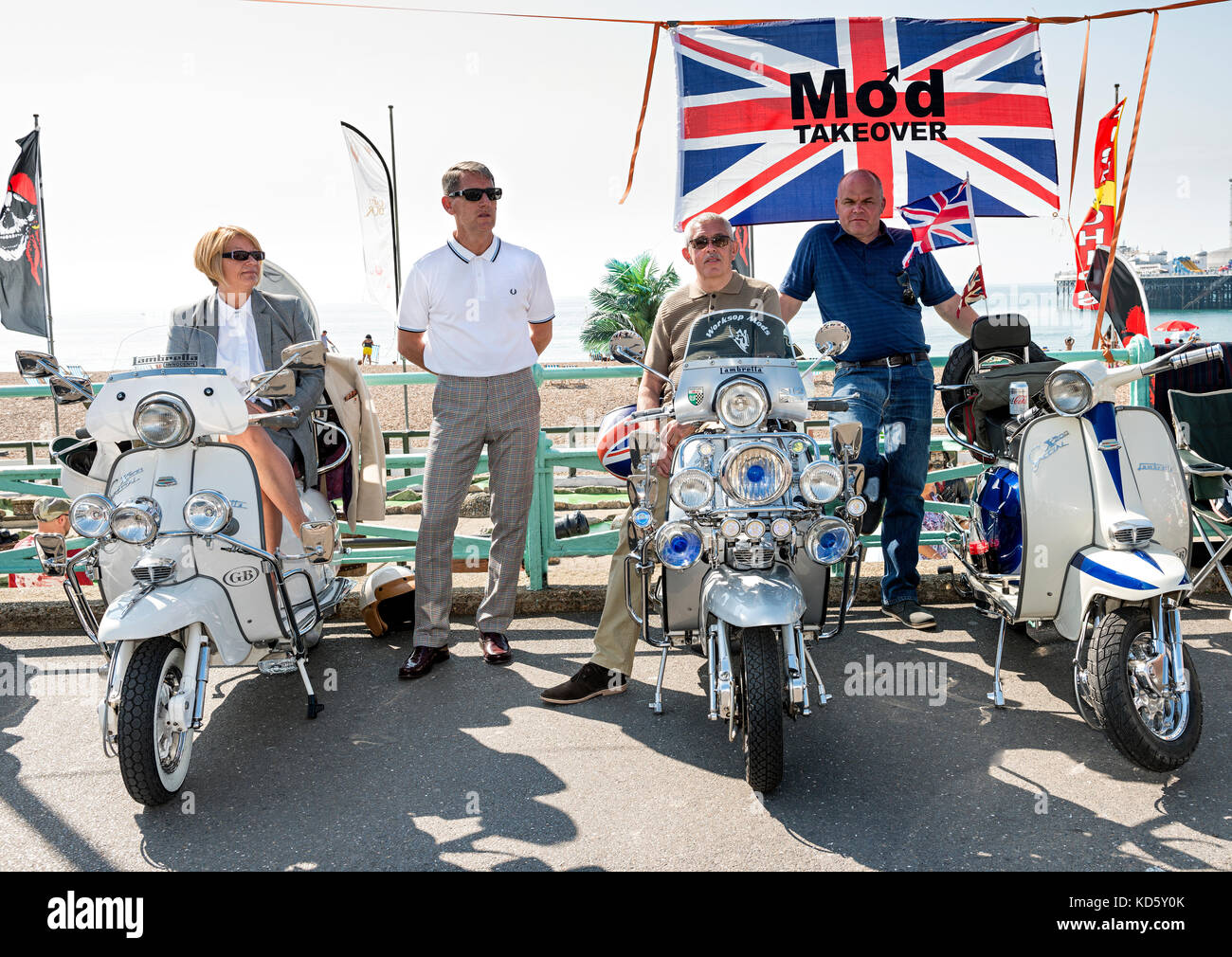 Mods and their scooters at Brighton Mod Rally August Bank Holiday - Stock Image