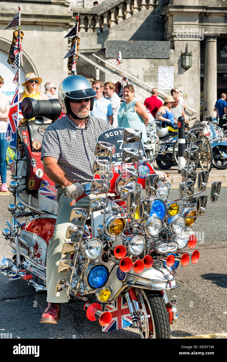 Scooterist at Brighton Mod Rally August Bank Holiday - Stock Image