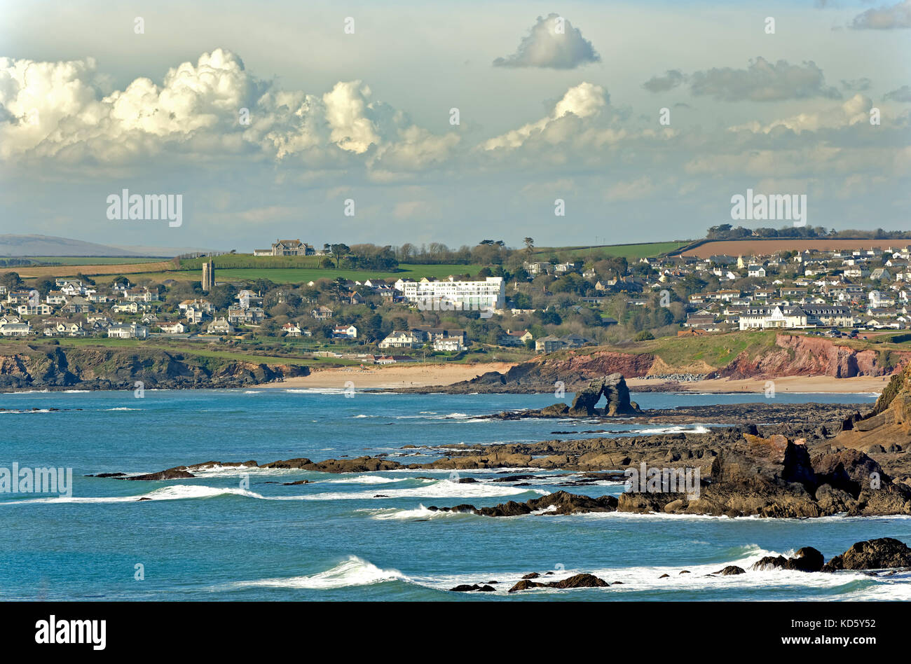 SOUTH MILTON SANDS AND THURLESTONE ROCK SOUTH DEVON ENGLAND - Stock Image