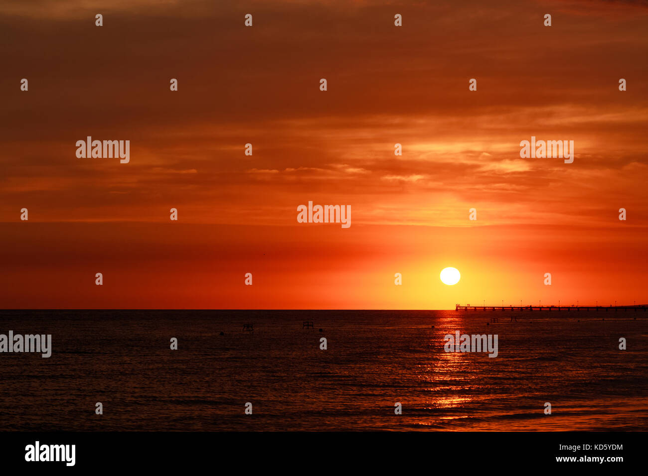 Beautiful sunset above the sea with beautiful color sky - Stock Image