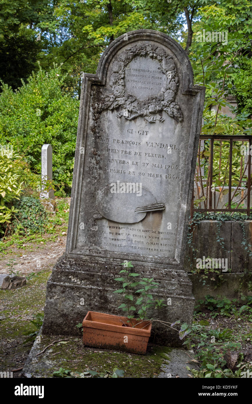 Grave of Jan Frans van Dael (1764-1840), Flemish painter and lithographer specializing in still lifes of flowers - Stock Image