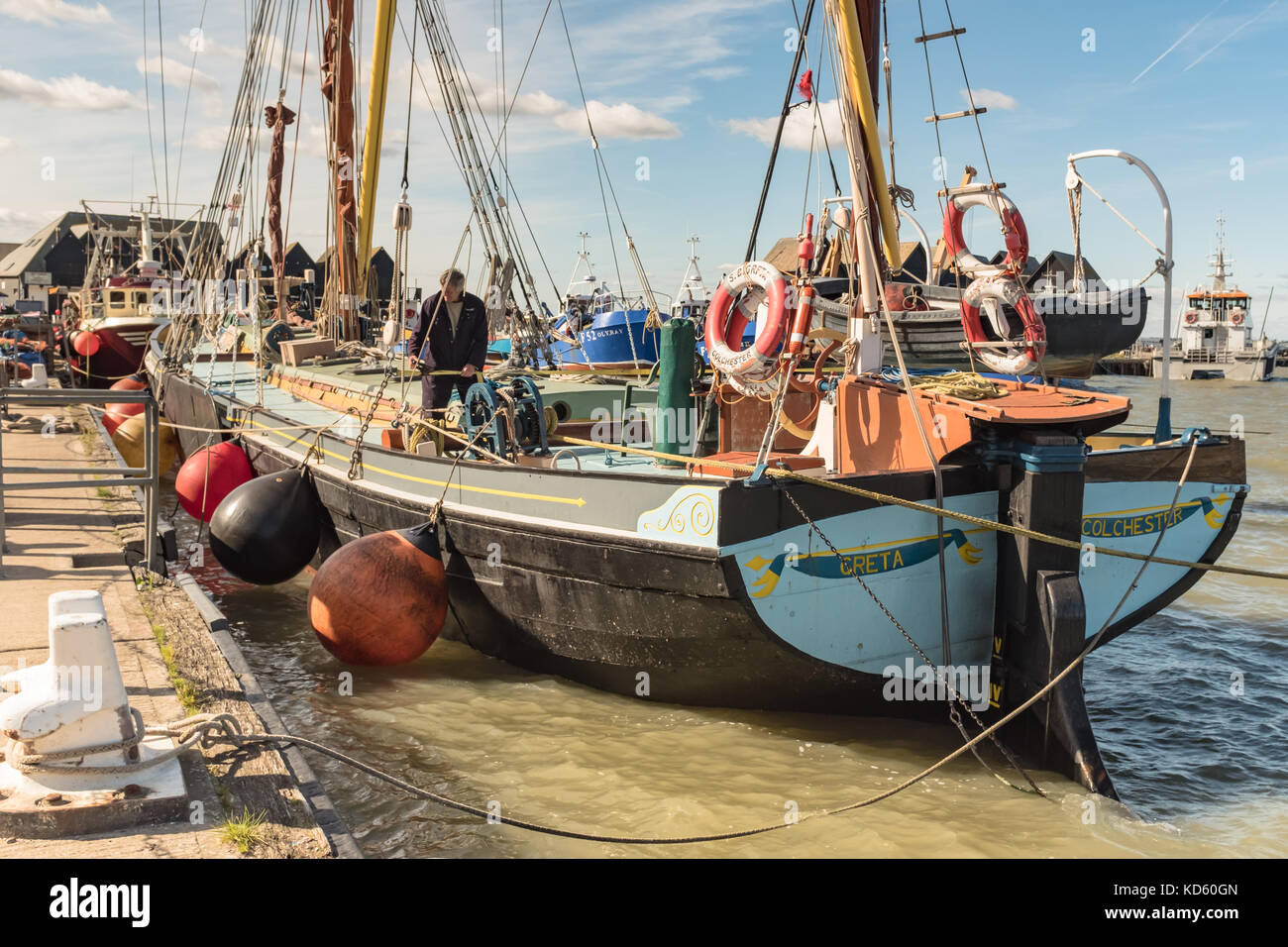 Whitstable, UK - OCT 5 2017.  A very high tide in Whitstable harbour as the Thames barge 'Greta' is moored - Stock Image