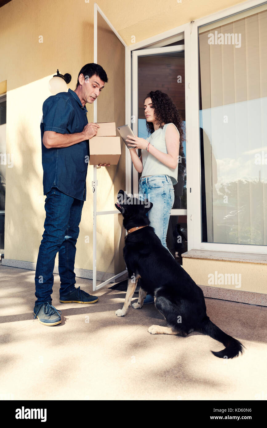 Shopping Home Delivery Service Courier Dog Stock Photo