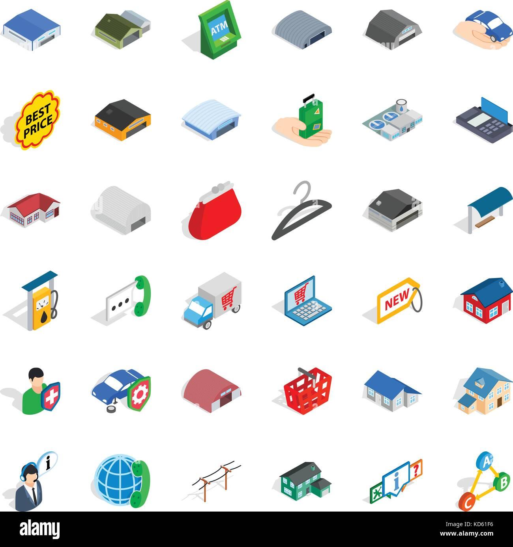 Gear icons set, isometric style - Stock Image